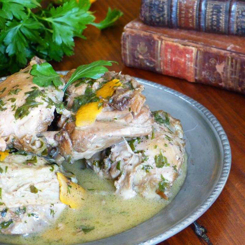 Fricassee-poulet-agrume-poivre-epices- gingembre-cannelle-clou-girofle-muscade-les-causeries-culinaires-recette-ancien-regime-fait-maison-boutique-saveur-histoire