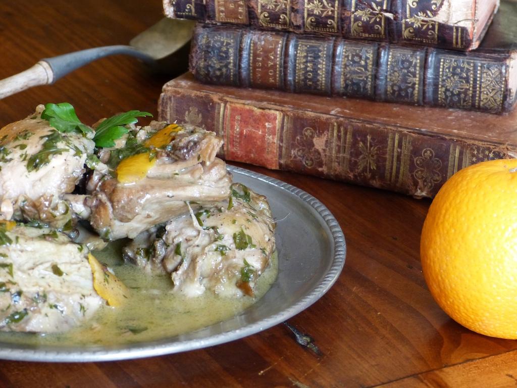 Recette-fricassee-poulet-verjus-orange-1655-les-causeries-culinaires-recettes-ancetres-boutique-cours-cuisine-histoire
